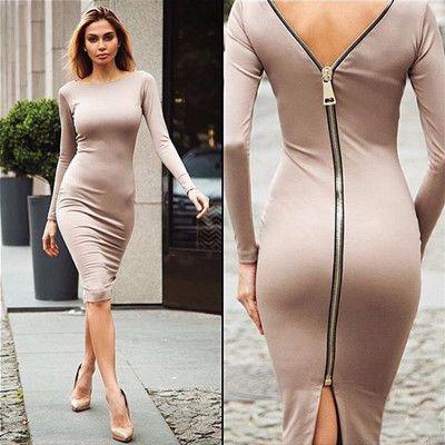 Long Sleeve Full Zipper Sheath Dress