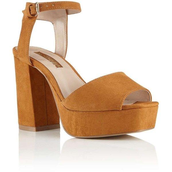 Miss Selfridge SARAYA Platform Sandal ($44) ❤ liked on Polyvore featuring shoes, sandals, tan, miss selfridge, platform sandals, miss selfridge shoes, tan shoes and platform shoes