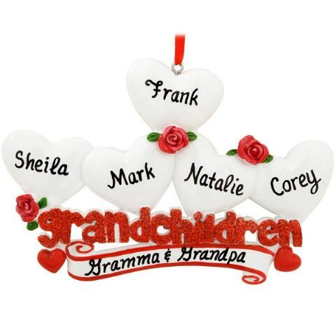 Personalized Grandchildren With Five Hearts Ornament from Bronner's Christmas store of Christmas ornaments and Christmas lights