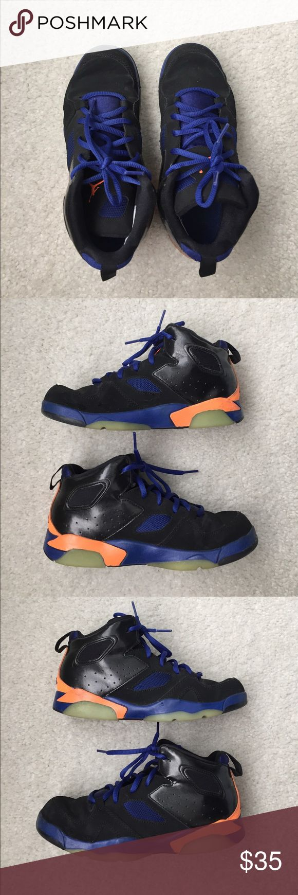 Jordan retro flight club shoes Nike Jordan flight retro shoes. Size 2Y. Black, blue and orange. Worn 1 season for basketball. Some minor scuffing on tops of shoe and on orange part. Still in great condition! Jordan Shoes Sneakers
