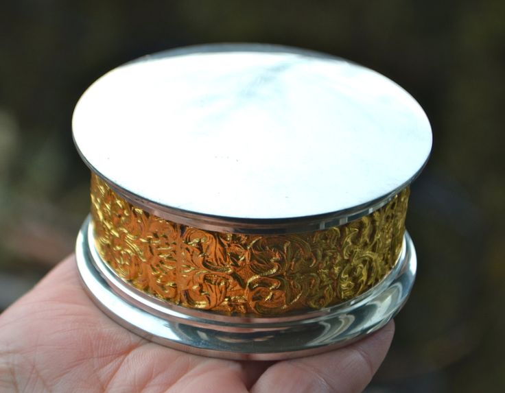 Pewter Trinket Box Jewellry Box with Ornate Gold Embossed Detail by  Royal Sealangor Pewter by StudioVintage on Etsy