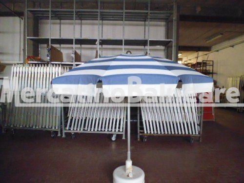 OMB USATO TELA NUOVA Q.TA 2  EUR 65 - Mercatino Balneare ombrellone usato modello ragno extra  10 stecche in acciaio armonico termoplastificato di diametro 5 mm  lunghezza stecche cm. 100 per un diametro di circa 200 cm. palo di diametro 40 mm in alluminio anodizzato innesto 38 tessuto acril mare nuovo  rigato blu e bianco il prezzo e' per cadauno ombrellone escluso della parte inferiore che e' da definire escluso anche il trasporto e iva  sono acquistabili anche