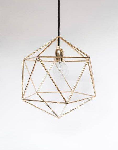 GEOMETRIC BRASS LAMP Unique Pendant Lamp Minimalist Lamp Gold