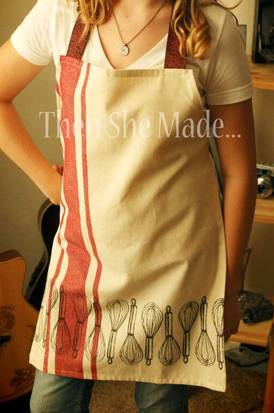 Apron made from a vintage dish towel....so many awesome dish towels at Ben Franklin Crafts - Oconomowoc to make one of these with!
