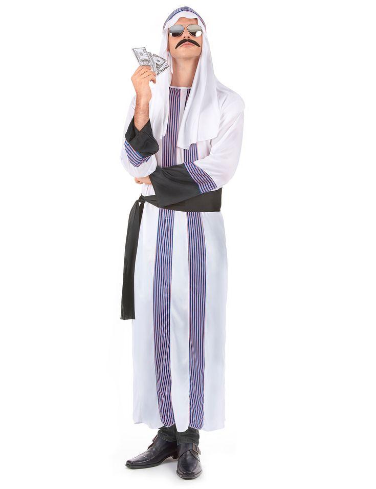 Arabischer Scheich-Kostüm für Herren: Diese Arabischer Scheich-Kostüm für Herren besteht aus einem langen, weißen Gewand mit Streifen-Muster, einer passenden Kopfbedeckung und einem schwarzen Gürtel. Kostüm aus...