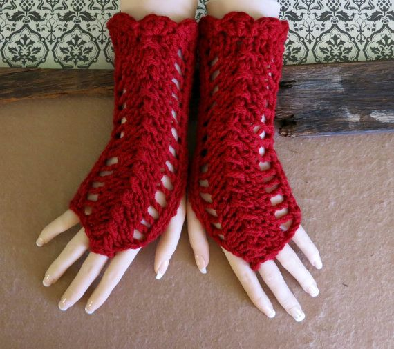 Fingerless Gloves Burgundy Womens Lace Knitted by NchantedGifts