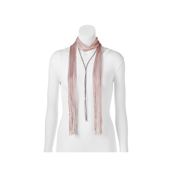 Mudd® Striped Skinny Scarf & Bolo Necklace Set, Women's, Red Other