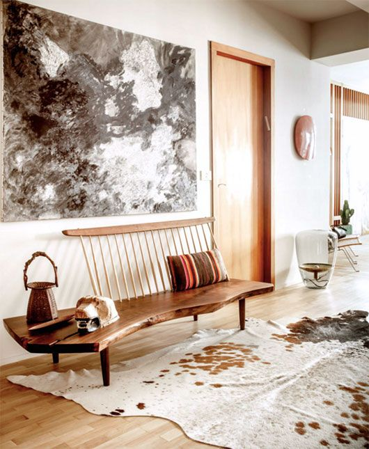 Neutral Organic Modern Entryway With Mid Century Bench And Cowhide Rug