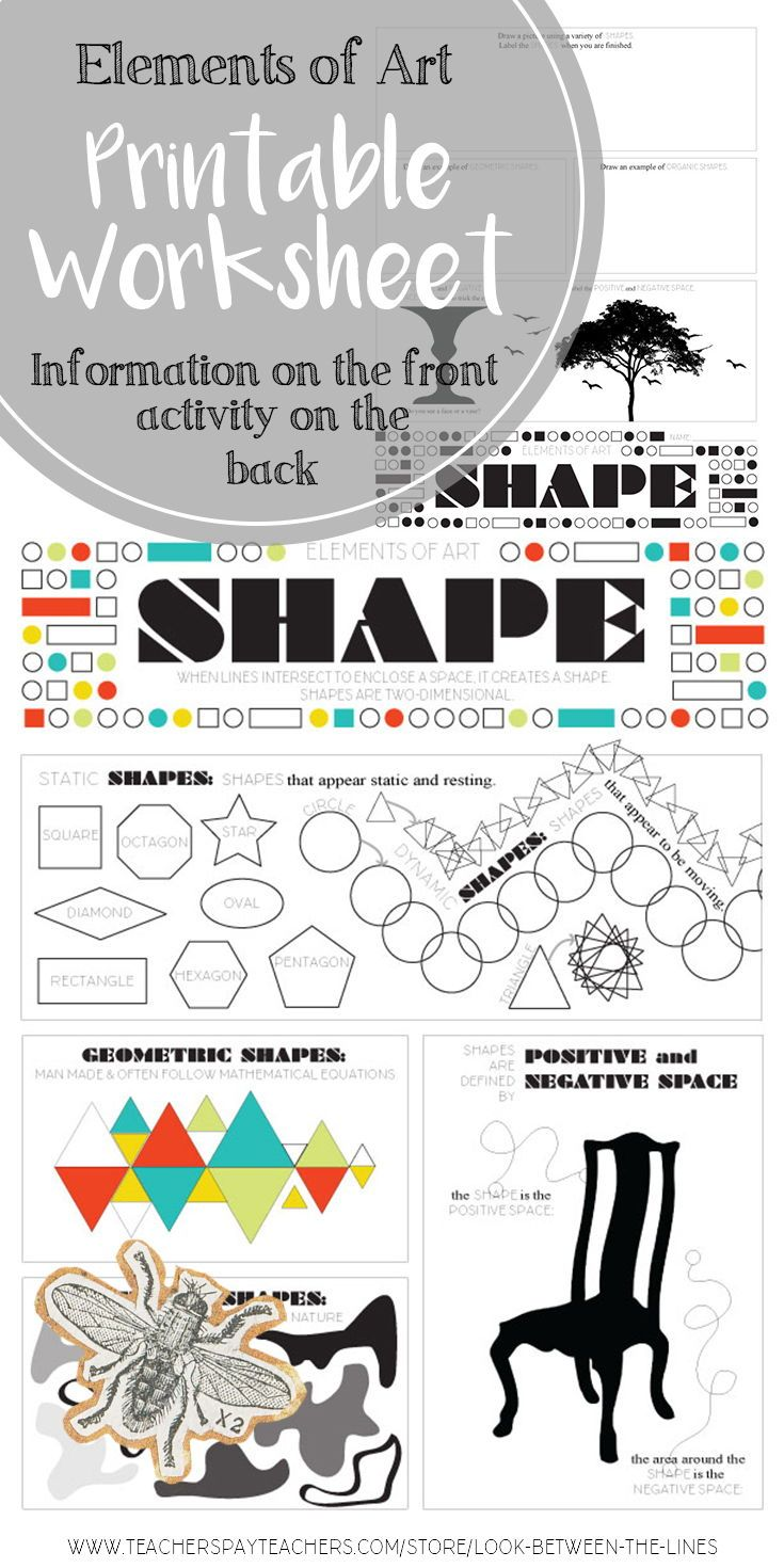 Elements Of Art Shape Elementary Middle Or High School Art Activity Elements Of Art School Art Activities Art Education Projects