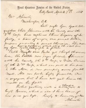 Abraham Lincoln to Mary Todd Lincoln, April 2, 1865 (Gilder Lehrman Collection)