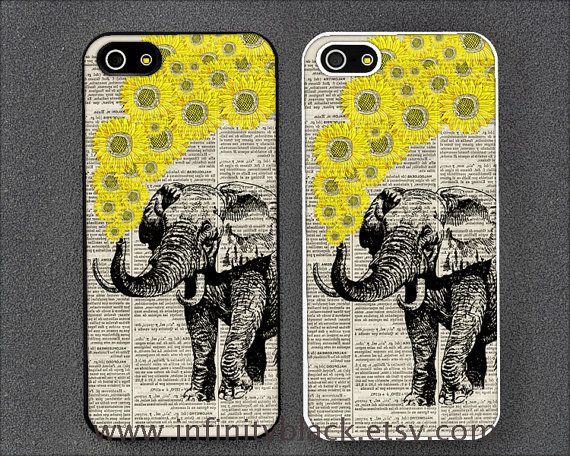 Elephant with Sunflowers on dictionary page iPhone 5 case, iPhone 4 case, iphone 4s case, Samsung case for Galaxy S2 S3 S4, iPod 4 5 case on Etsy, $9.99