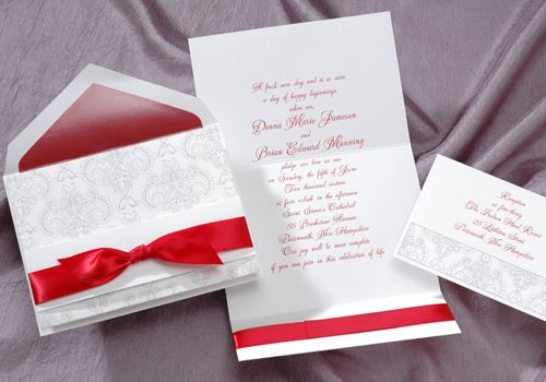 Red, White and Blue Wedding Ideas - Red Ribbon Wedding Invitations by Occasions In Print (Invitation Link - http://www.occasionsinprint.yourinvitationplace.com/Detail.aspx?ItemNum=T6531CL&WebName=occasionsinprint)