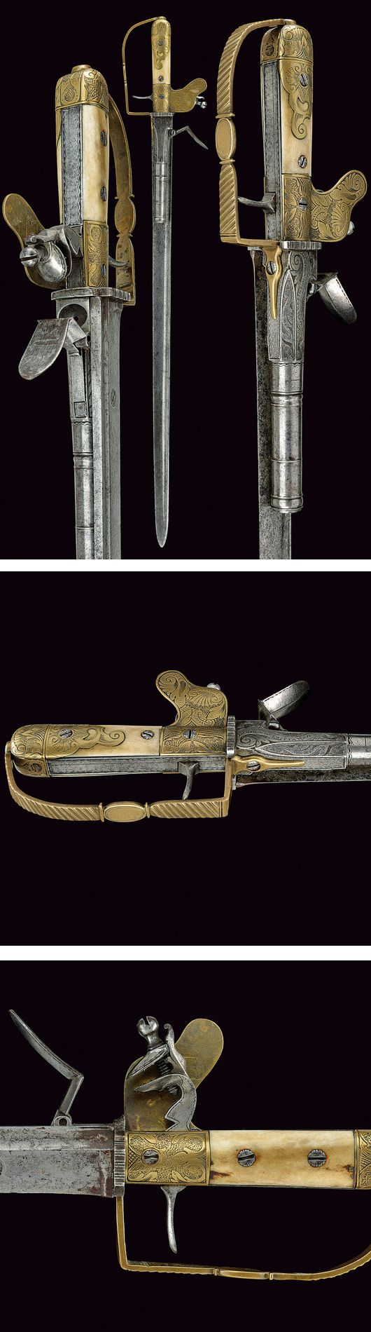 A hunting hanger with flintlock pistol by Lindenschmitt,    provenance: Germany dating: 18th Century.