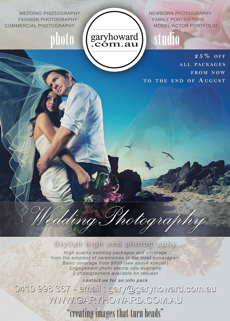 www.garyhoward.com.au  wedding package specials till the end of August
