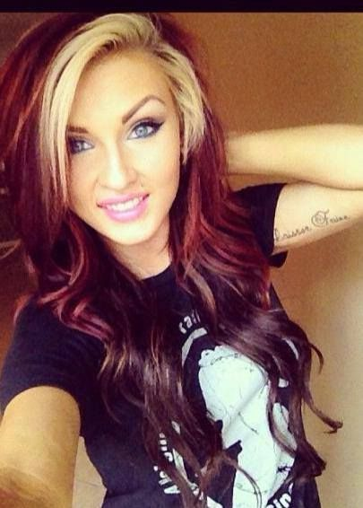 red hair with blonde highlights...like the lighter in the front framing the face..but would do different colors
