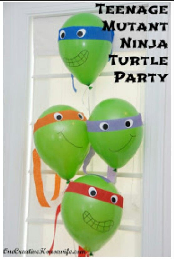 Teenage mutant ninja turtles party ideas.  Ninja turtle balloons. Use green ballons and crepe paper for mask and eyes. Sharpie for mouth