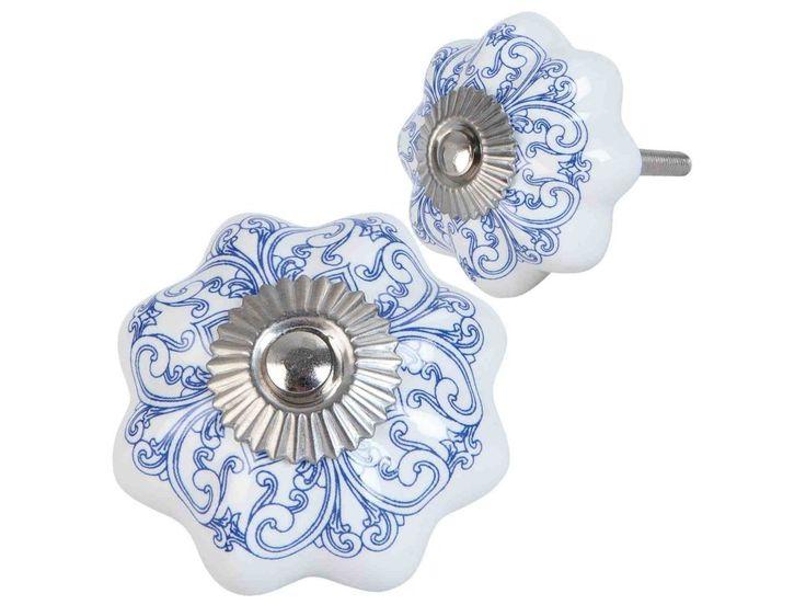KNOPKA Ø 4cm CLAYRE & EEF - s modrým dekorem 63417 . Krásná keramická knopka holandského výrobce CLAYRE & EEF o průměru 4cm.