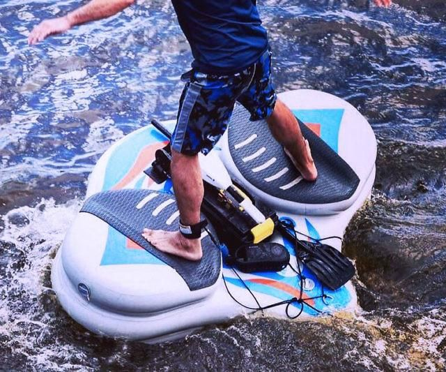 The inflatable motorized stingray water board delivers all the fun of a stand up paddle board without the tiresome paddling part. It's powered by a compact 12-volt battery, has a 200 pound capacity, and features a 6 inch thick bottom PVC layer for added durability.
