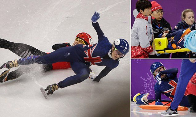 Not again! Britain's Elise Christie crashes out on the ice