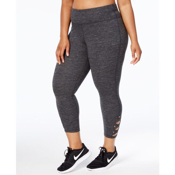 Ideology Plus Size Cropped Cutout Leggings, ($55) ❤ liked on Polyvore featuring plus size women's fashion, plus size clothing, plus size pants, plus size leggings, classic black, plus size cropped leggings, cropped pants, womens plus size leggings and plus size trousers