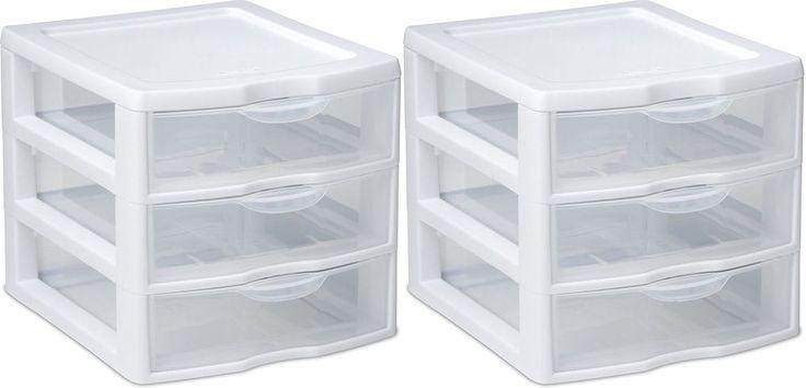 2 Pack Mini 3 Drawer Tower Plastic Organizer Storage Cabinet Furniture Dresser #STERILITE