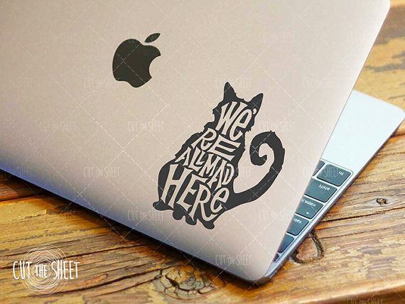 We're all mad here (Alice in wonderland) - Laptop Decal - Laptop Sticker - Car Decal - Car Sticker - Cheshire Cat Decal on Etsy, $6.50