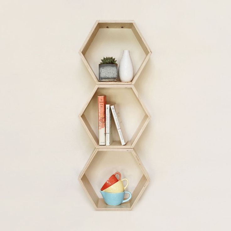 Natural Hexagon Book Shelf  | dotandbo.com. I want a whole bunch of these! I need to learn to use a power saw.