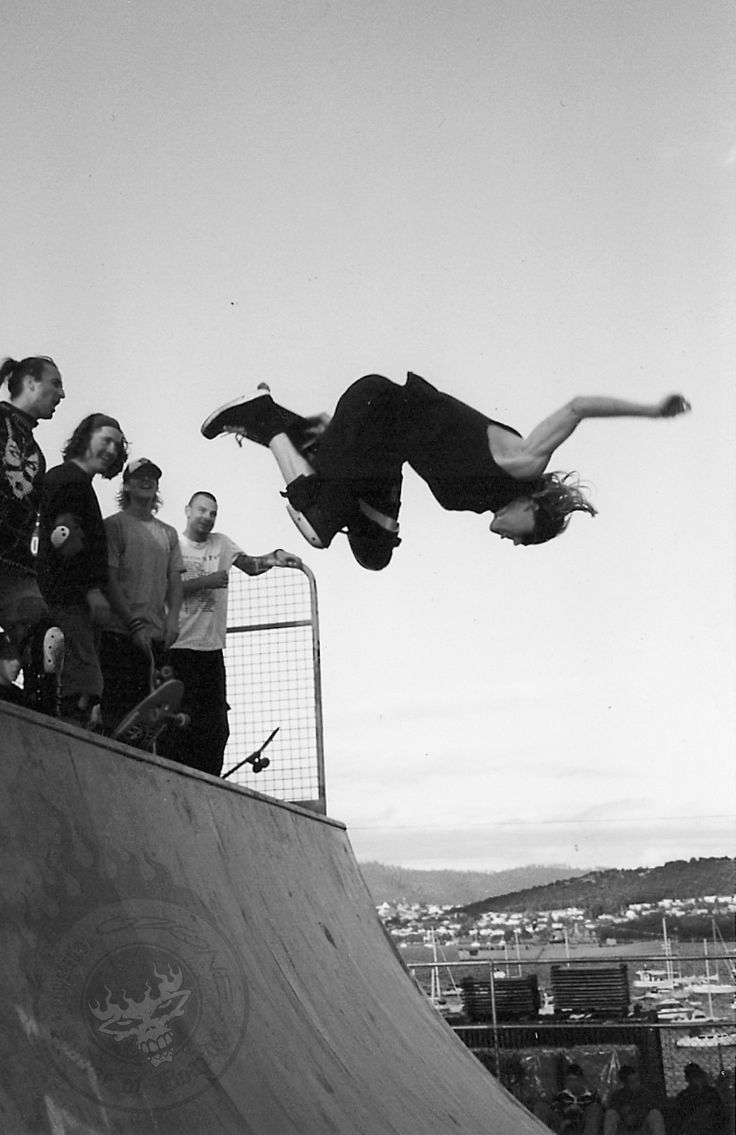 The Domain Ramp Crew... this sessions not only went down as one of the best, but ended up being our last big skate session together...ever. From the left: The Doctor, Matty, Sean, Russ, me behind the camera and Captain Scabs throwing down his signature floating backside method. Check out every ones smiles EPIC! Saturday Regatta Skate Jam. Hobart, Tasmania.10.2.1996.