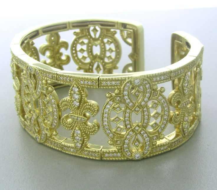 Judith Ripka Castle Collection Gold Diamond Cuff Bracelet image 2