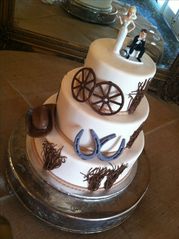 Western/country wedding cake like the cake but hate the topper