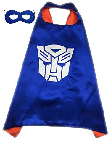 Superhero or Princess CAPE & MASK SET Childrens Kids Halloween Costume (Red & Blue (Transformers Optimus Prime))