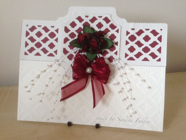 Wedding card made with Tonic Idyllics dies and embossing folder.