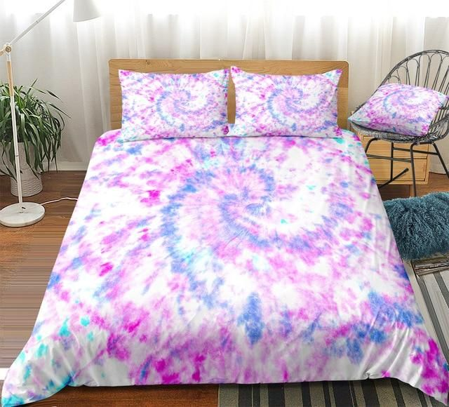 Purple Blue Tie Dye Gwbj16071 Bedding Set Tie Dye Bedding Tie Dye Duvet Cover Tie Dye Bedroom