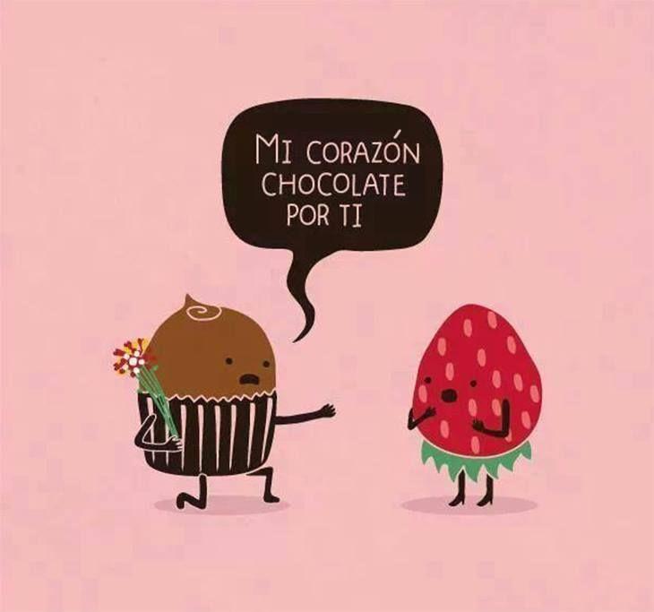 """Mi corazón chocoLATE por ti."" #frases #chocolate"