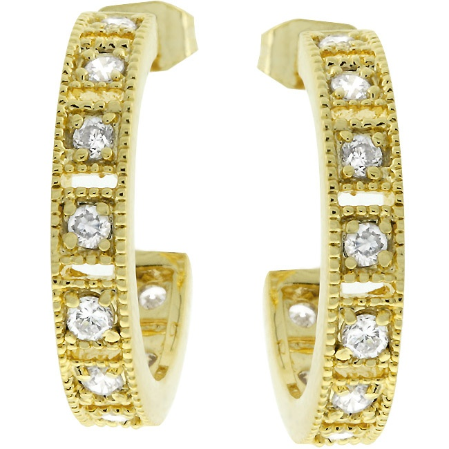 Roma    Price:  US$29.99    14k Gold Bonded Hoop Earrings with Milligrain Accenting Around Prong Set Clear CZ in Goldtone