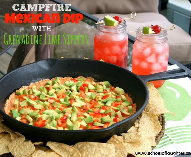 Echoes of Laughter: Campfire Mexican Dip with Grenadine Lime Sippers