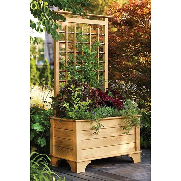 Planter Box And Trellis Woodworking Plan From Wood Magazine Pallet Garden Box Planter Boxes Garden Boxes
