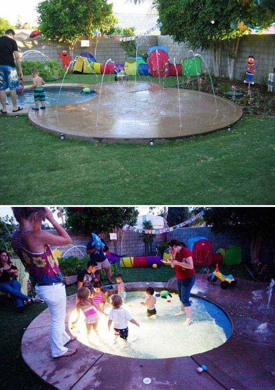 #7. Built a sprinkler playground in the backyard.