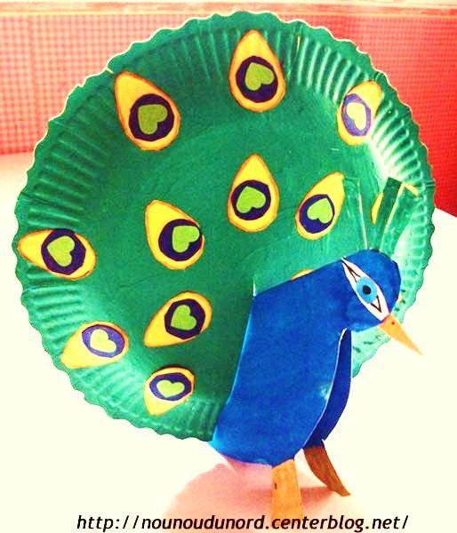 kids art - paper plate peacock, excellent idea .Paon avec des assiettes en carton