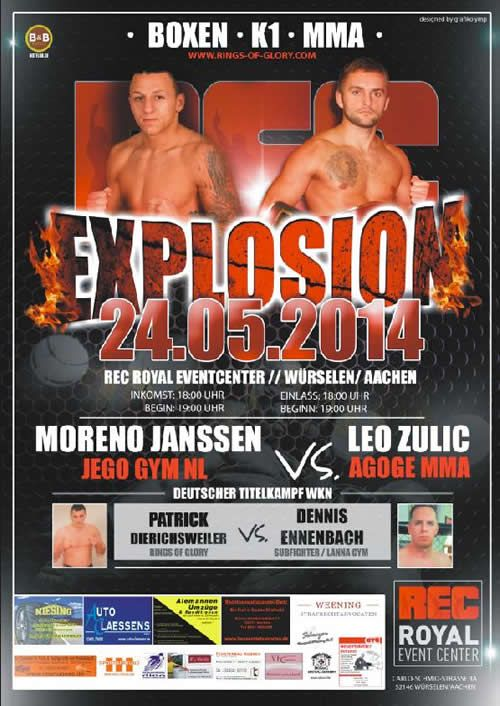Rec Explosion International Fight Night in Wurselen, Germany #WKN #Kickboxing #MMA #Boxing