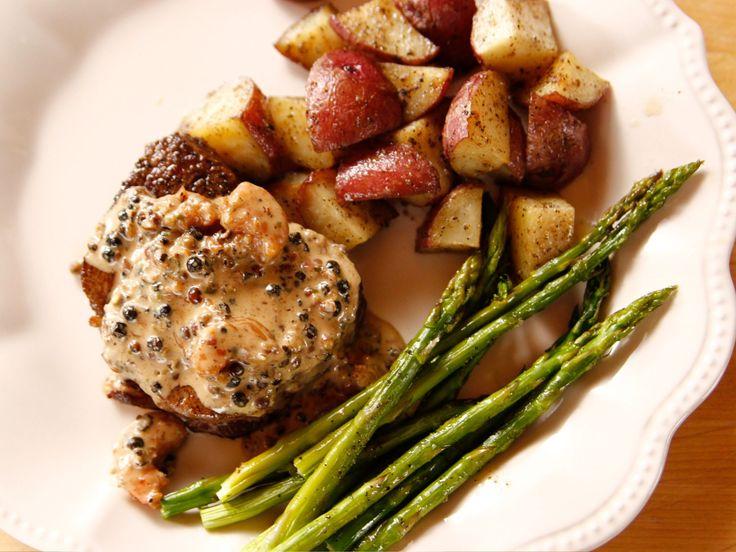 Filet Steak with Shrimp Peppercorn Sauce recipe from Ree Drummond via Food Network (Season 13 --  Mom's Day)