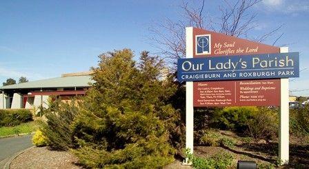 Our Lady's Parish sign / Danthonia Designs