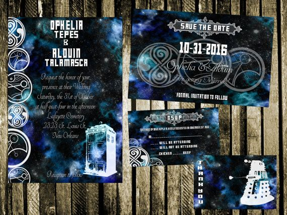 Doctor Who Wedding Invitation, Save the Date, RSVP, and Thank You Digital File Kit Printable sci-fi geeky tardis dalek dr who