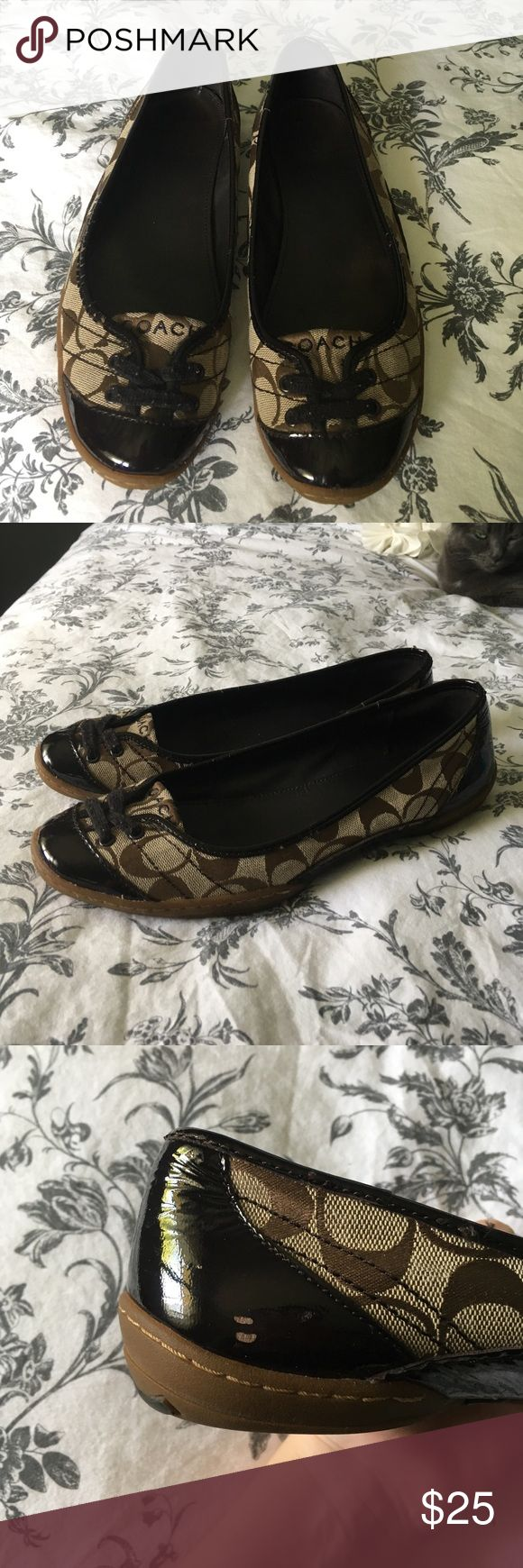 Coach Flats Coach flat shoes. Size 10. Worn on sides and heel as shown in the pictures. I used to wear these shoes all the time but sadly have little use for them now. Will accept reasonable offers! As far as I know they don't sell these shoes anymore at coach. Coach Shoes Flats & Loafers