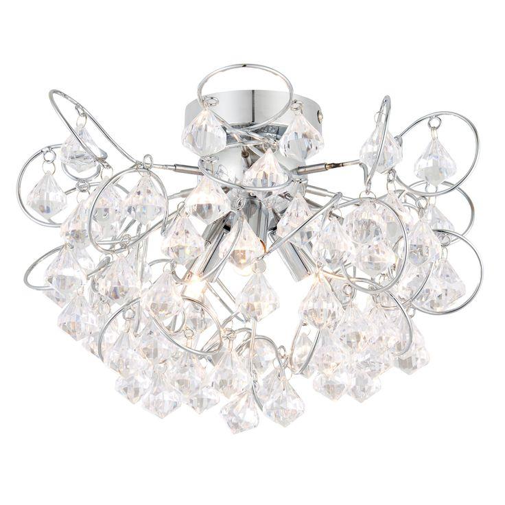 Chesca Chrome Effect 3 Lamp Ceiling Light