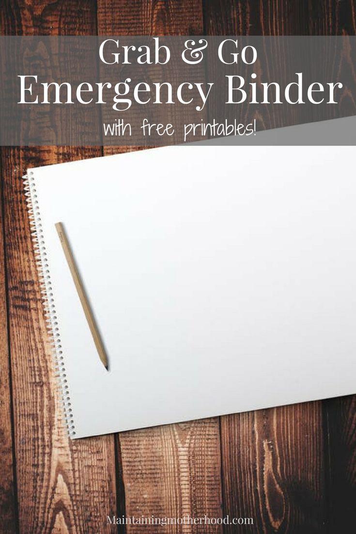Grab and go emergency binder emergency binder family