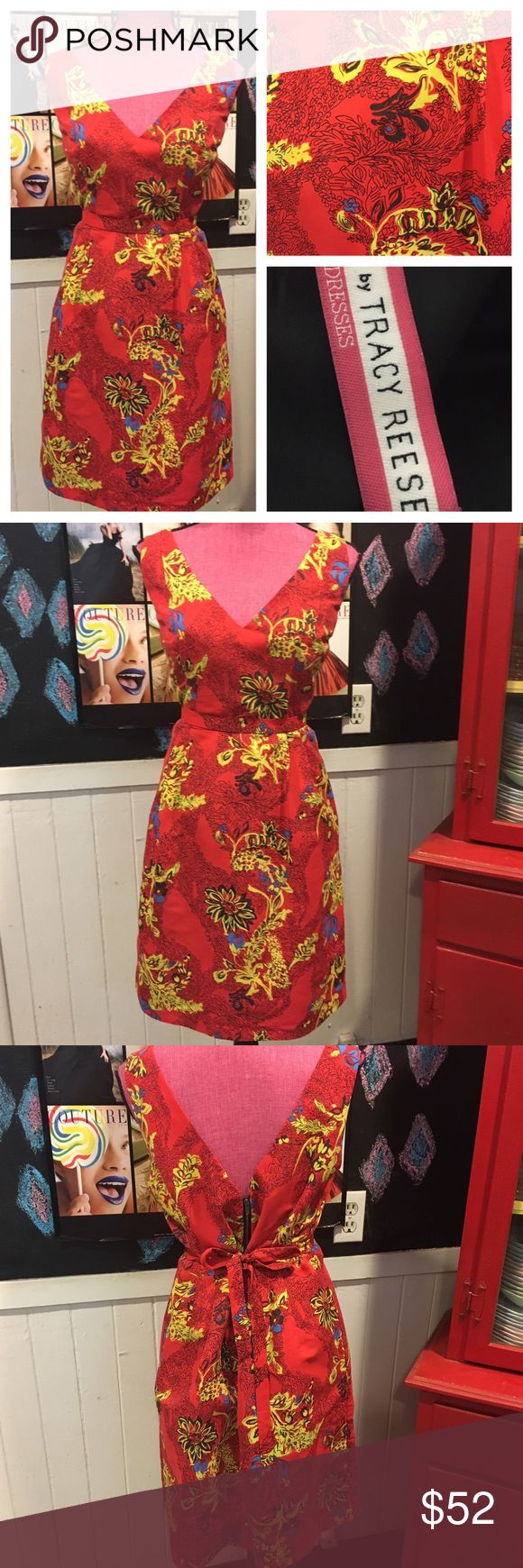 """👀❤TRACY REESE sz12 Asian red DRESS nwot NWOT size 12 Tracy Reese red dress.   So cute has a belt tie.  Chest it 38"""" waist is 34"""".   It's a Asian print mixed with summer🤷🏻♀️ great print is what I'm saying.  😍😍😍💯 Plenty by Tracy Reese Dresses"""