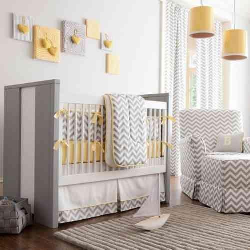 chambre de bb mixte chevrons en gris blanc ey jaune - Couleur Bebe Mixte