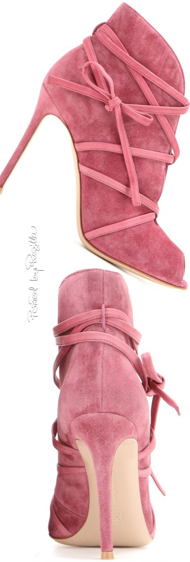 Gianvito Rossi ~ Pink Suede Booties 2015/Dorothy Johnson. Follow me‼️ Pinterest @divinewanderer2