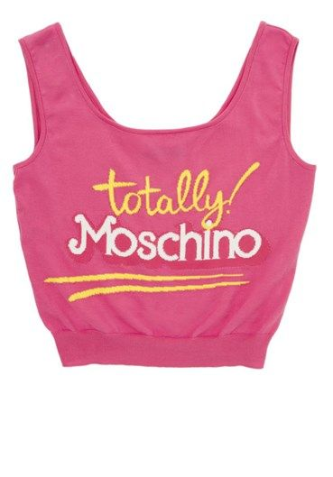 Moschino Runway Capsule Collection short sleeveless top in stretch jacuard pink Barbie logo front.